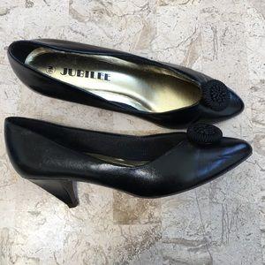 Elegant Black Faux Leather Medium Heel Slip On